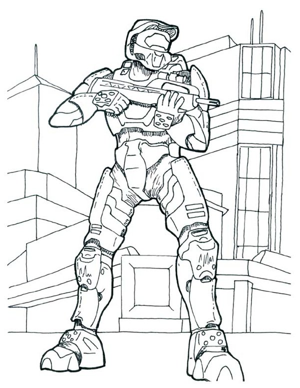 Free Halo Coloring Pages Master Chief