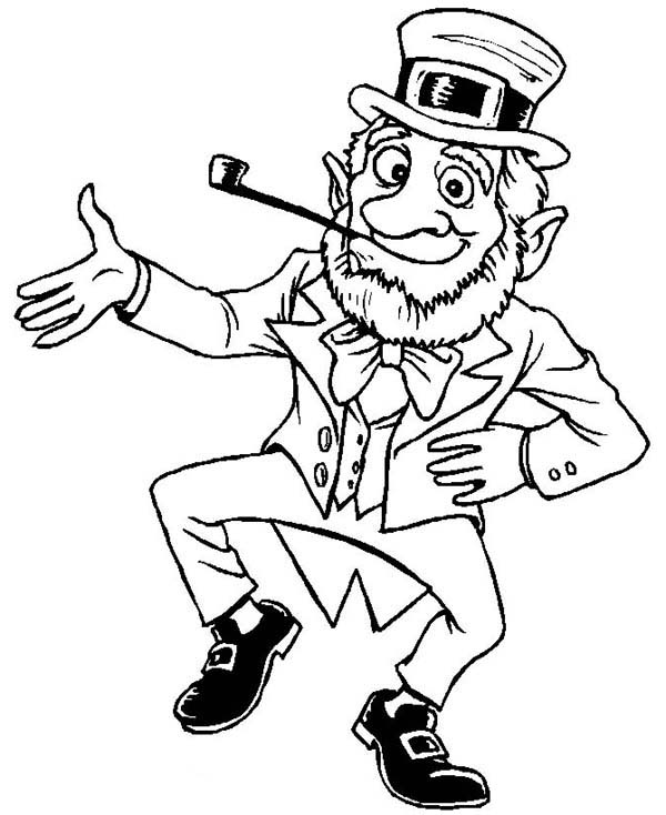 Happy Leprechaun Coloring Page