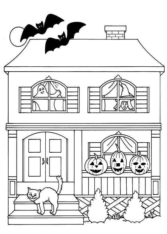 House coloring pages 360coloringpages - Maison hantee dessin ...