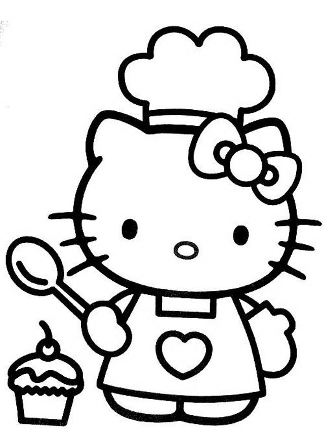 It is a graphic of Adorable Free Printable Hello Kitty Coloring Pages