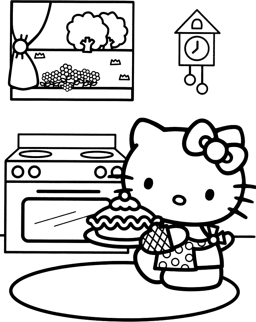Hello Kitty Coloring Page On Birthday Pages For Girls