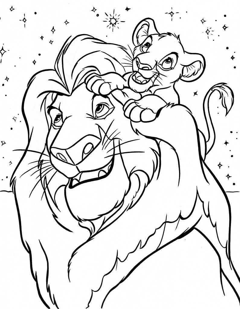 Mufasa and Simba Coloring Pages Free Printable
