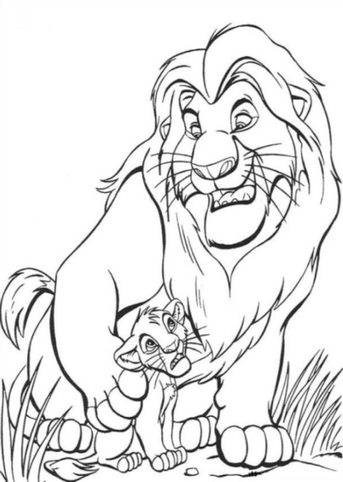 Mufasa and Simba Coloring Pages