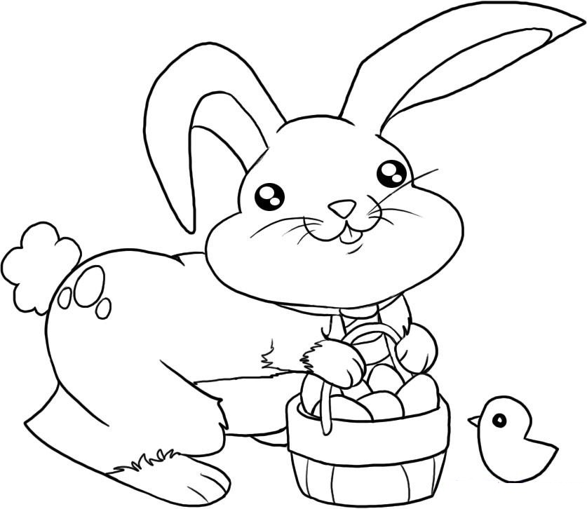Free Easter Bunny Coloring Page Pages Preschool