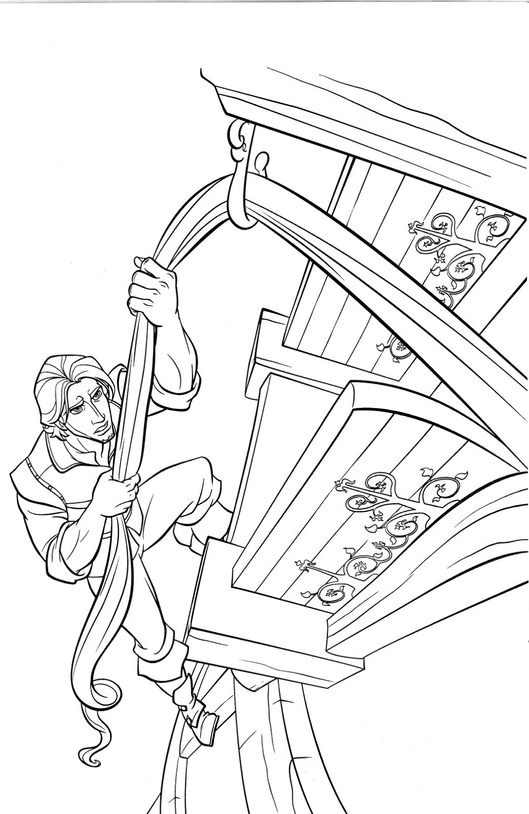 Tangled Princess Rapunzel and Flynn Rider Coloring Pages