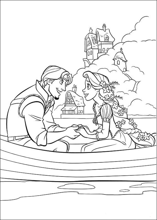 Tangled Rapunzel and Flynn Coloring Pages