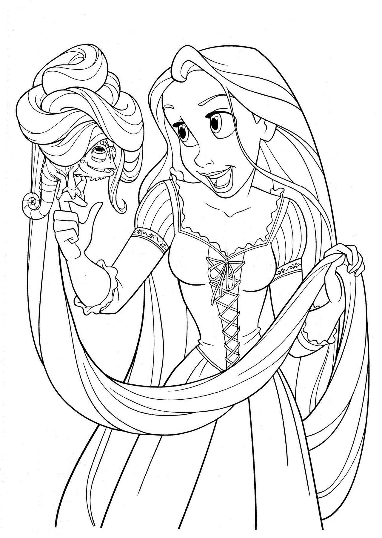 Tangled Rapunzel and Pascal Coloring Pages