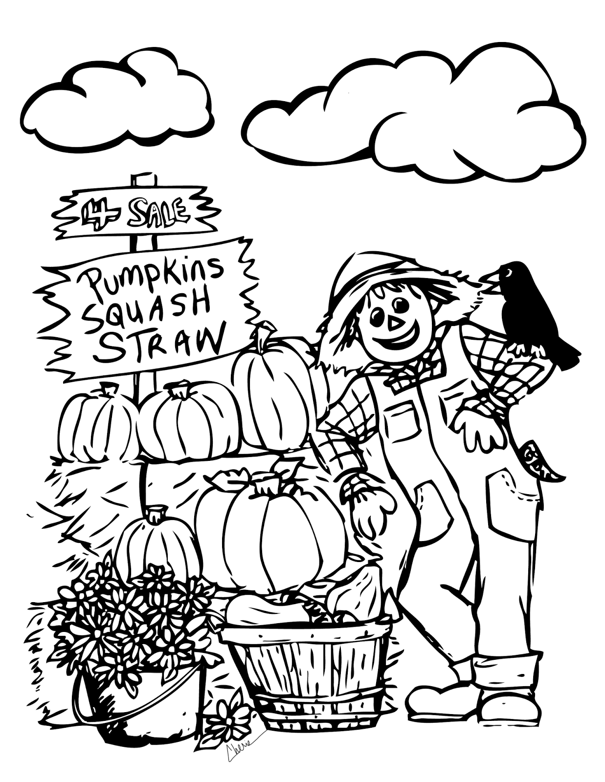 Scarecrow Coloring Sheets
