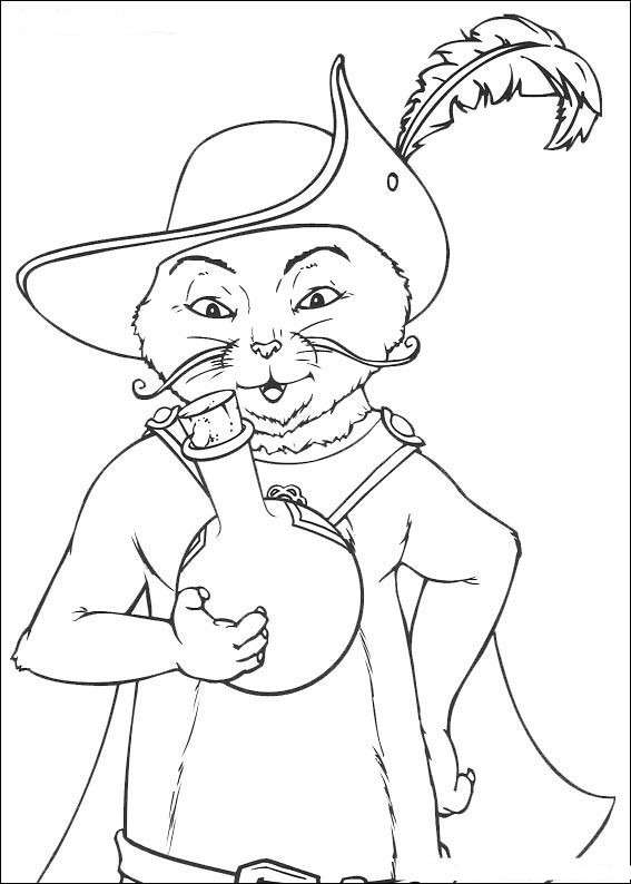 Shrek Puss in Boots Coloring Pages