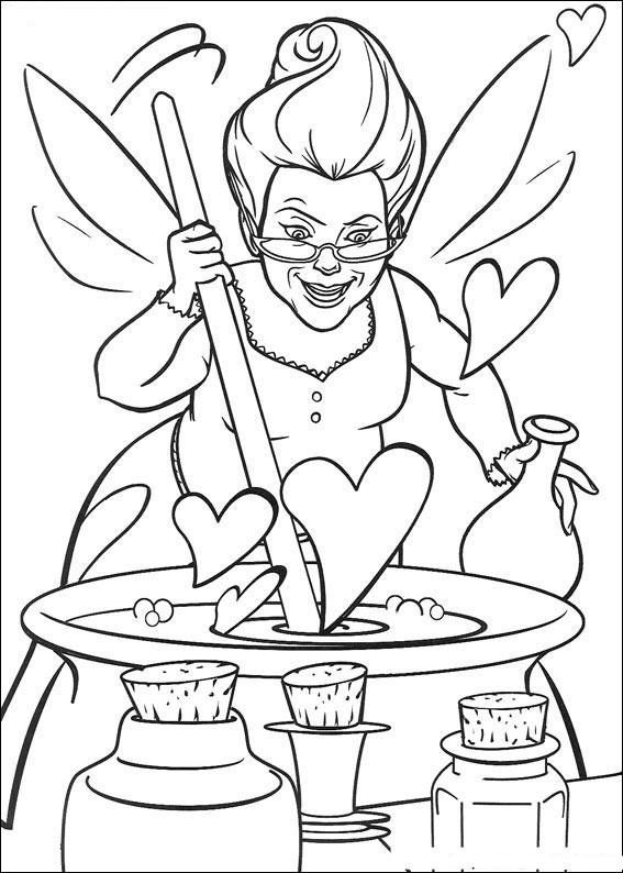 Shrek Coloring Pages Fairy Godmother