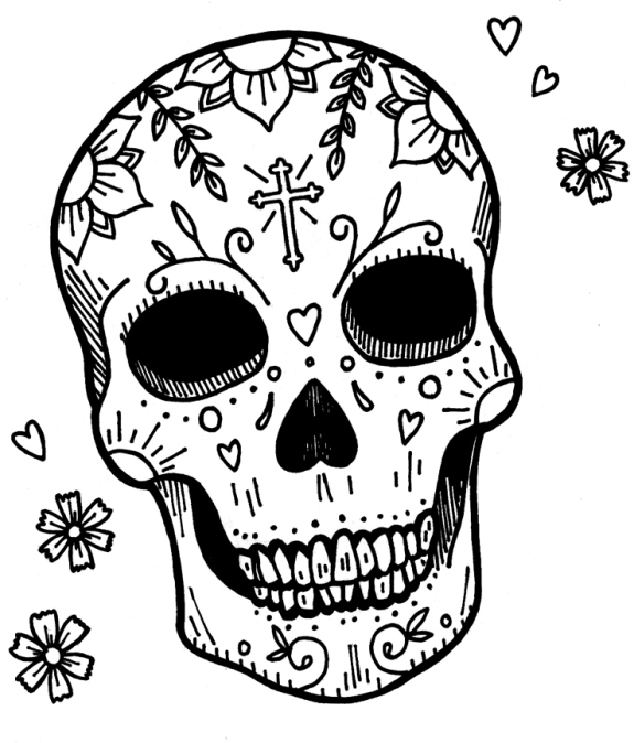 Free Sugar and Skull Coloring Pages Printable