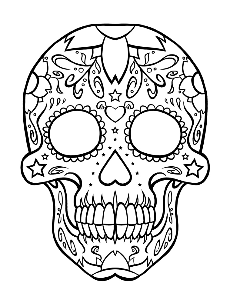 Sugar Skull Coloring Sheets Free