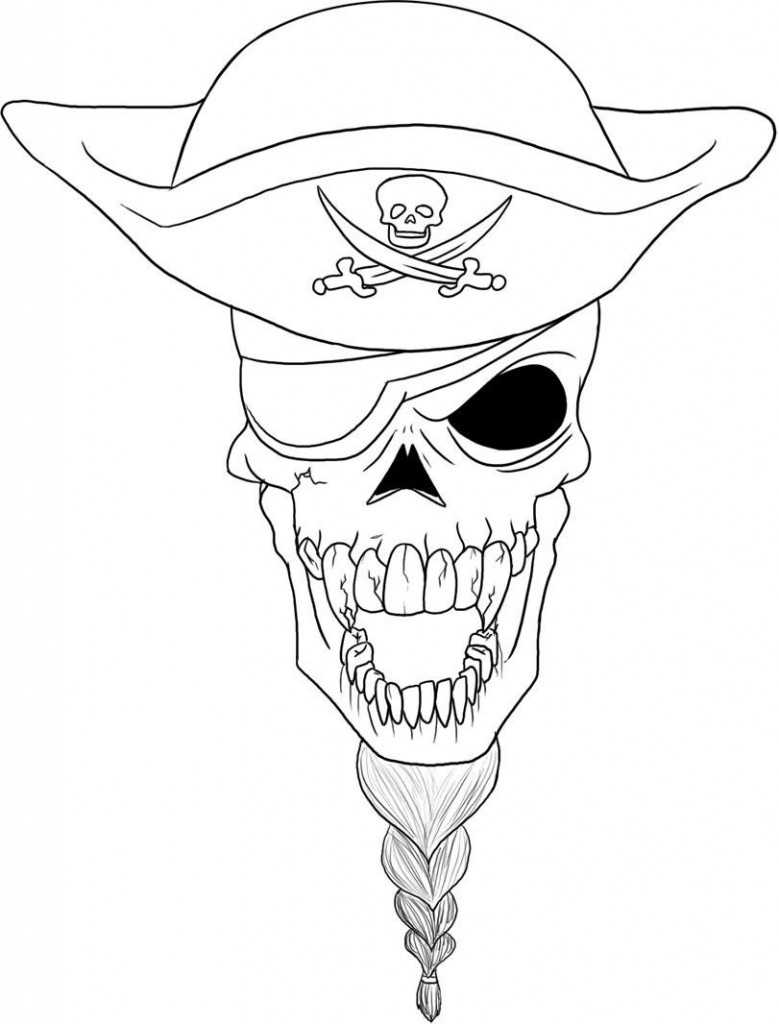 Pirate Skull Coloring Sheets Printable
