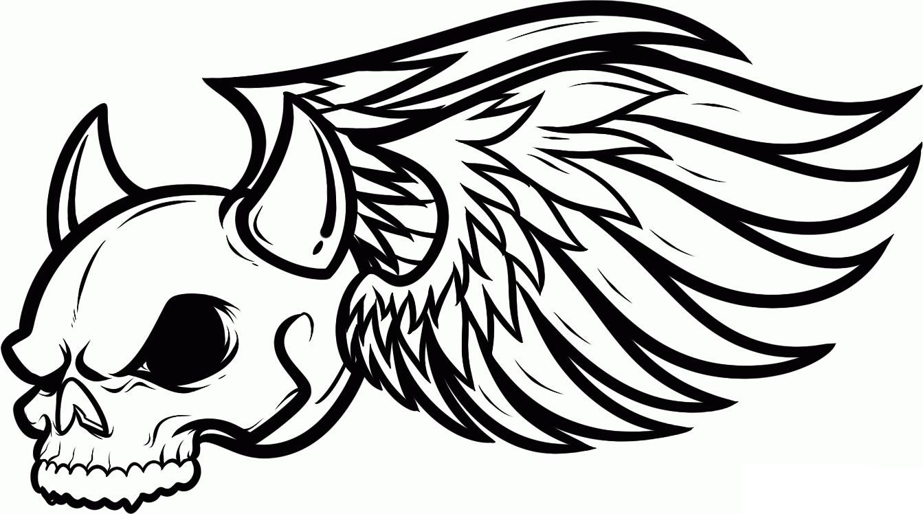 Skull Coloring Sheets with Wings