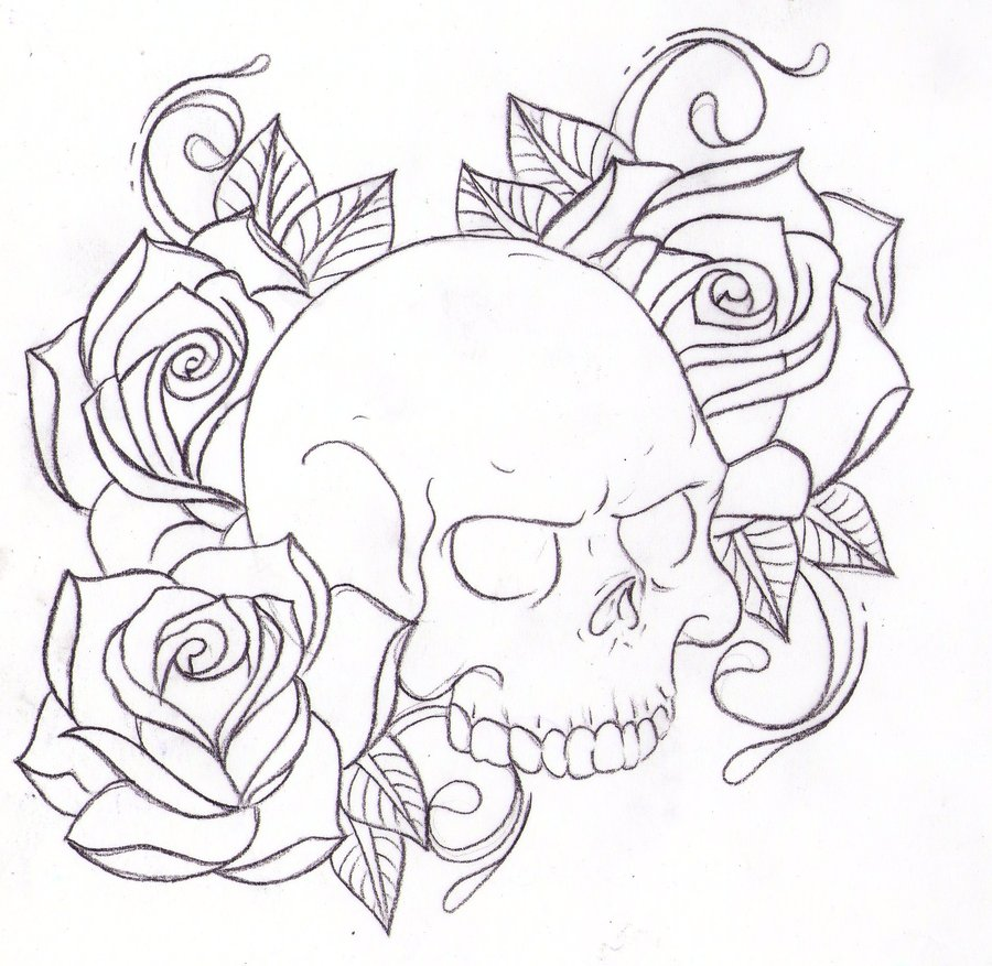 Skull and Roses Coloring Pages for Adults