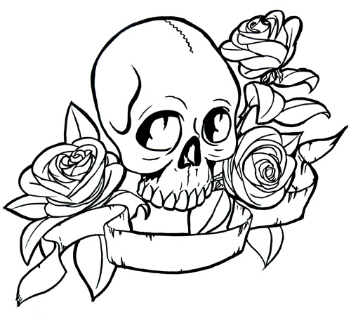 Skull and Roses Coloring Sheets Printable