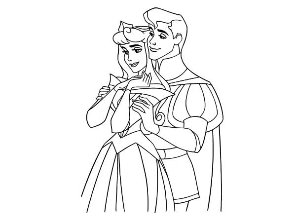 Sleeping Beauty and Prince Phillip Coloring Pages