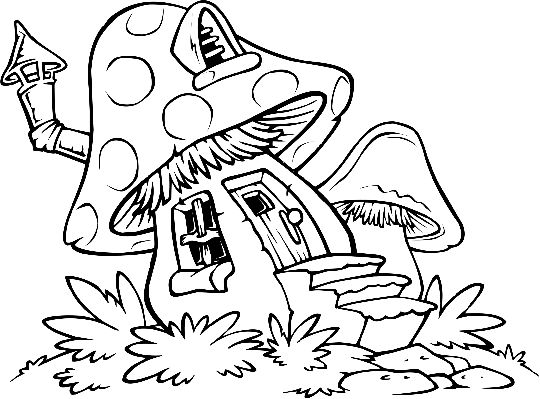 Smurfs House Coloring Pages