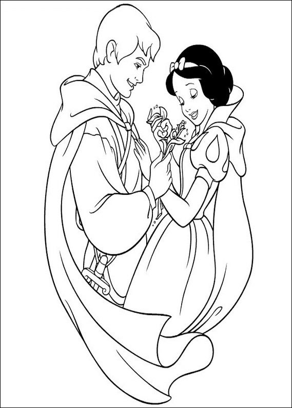 Snow White and Prince Coloring Pages Free