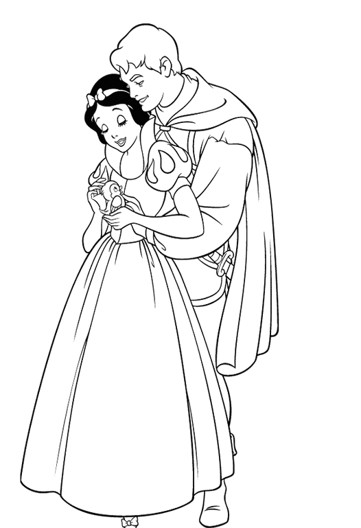 Snow White and the Seven Dwarfs Coloring Sheet