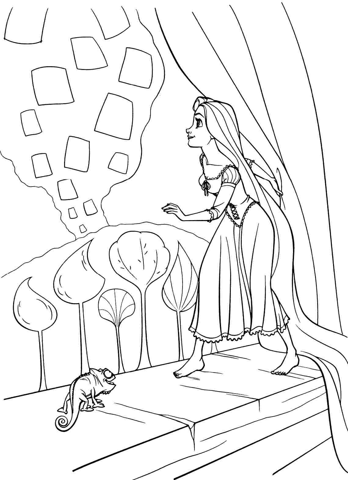 Tangled Rapunzel Coloring Printable