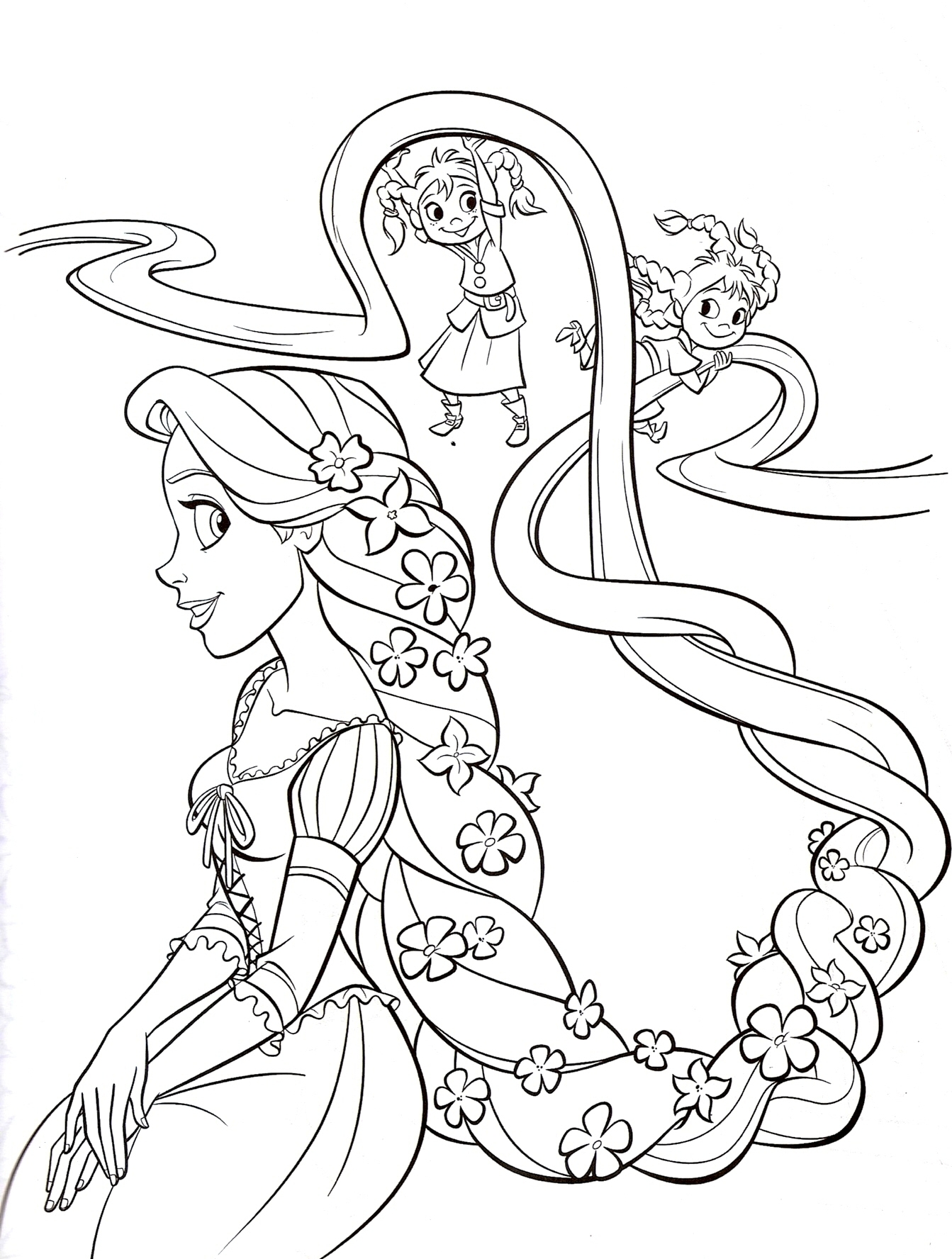 Tangled Rapunzel Printable Coloring Page