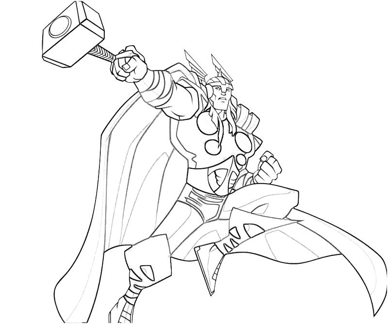 Thor Marvel Coloring Pages Free