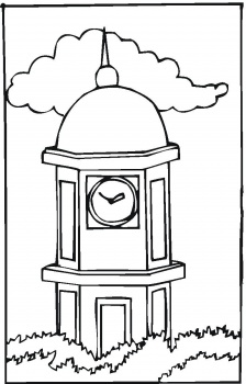 Tower Clock Coloring Page