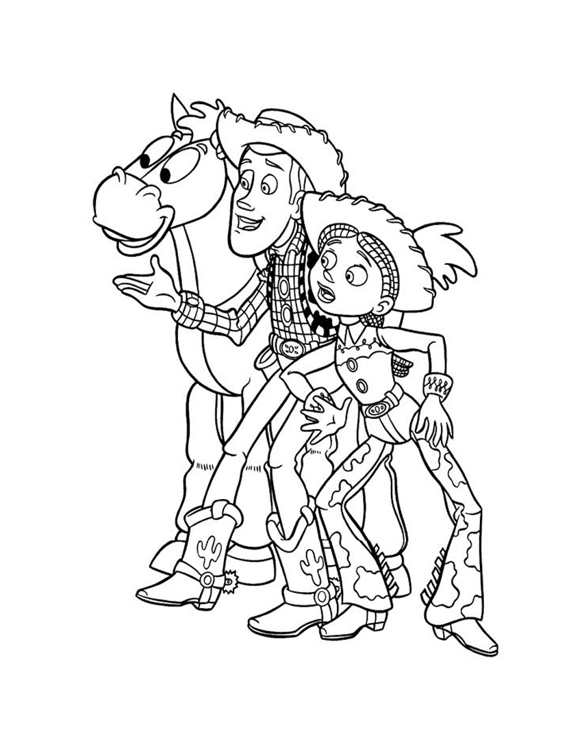 Toy Story Bullseye Woody And Jesie Coloring Pages