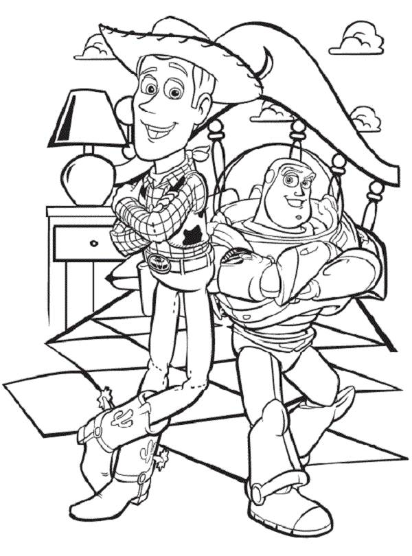 Toy Story Woody and Buzz Coloring Page