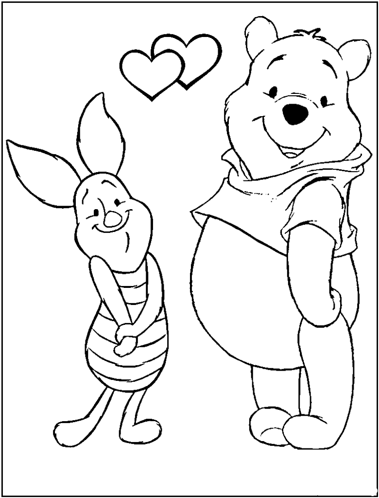 Printable Winnie The Pooh Coloring Page Heart