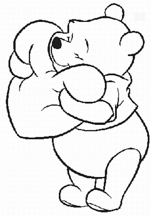 Winnie The Pooh Coloring Pages Valentines Day
