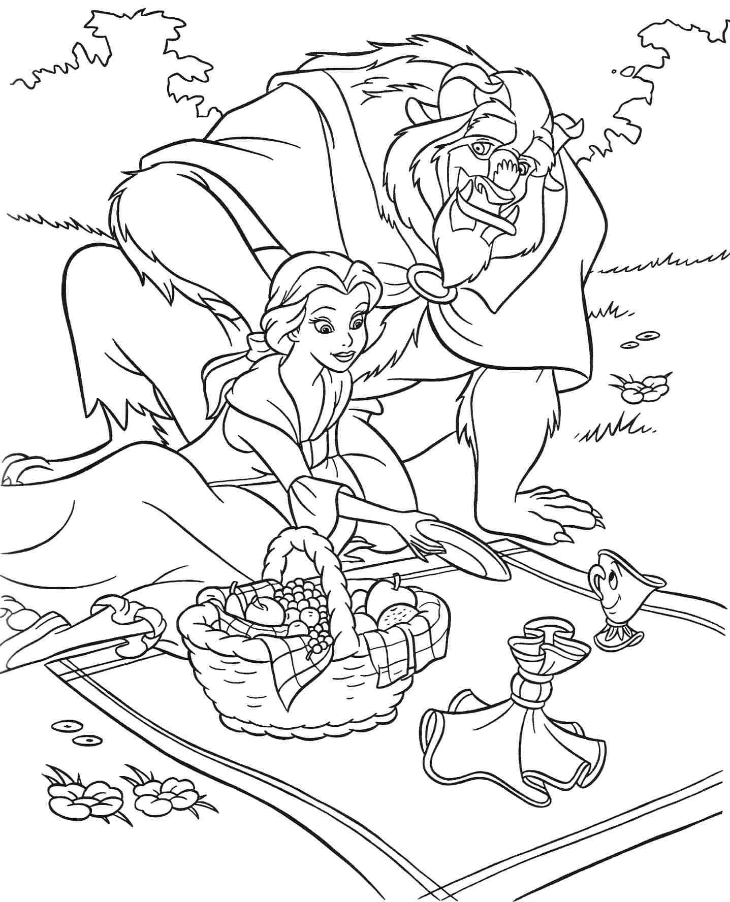 Beauty and the Beast Coloring Sheet