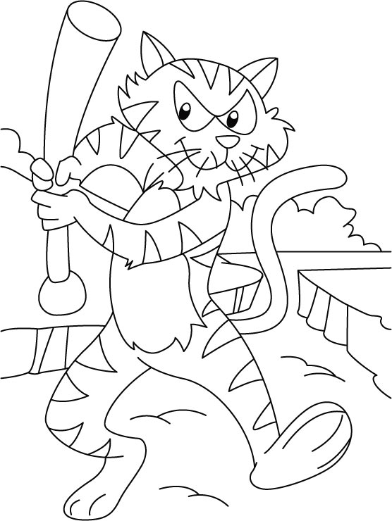 Cartoon Tiger Coloring Page