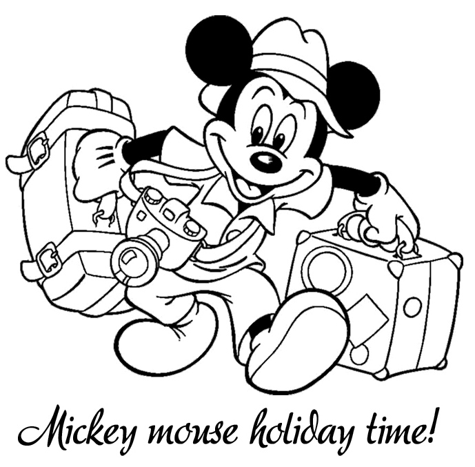 Mickey Mouse Holiday Coloring Page