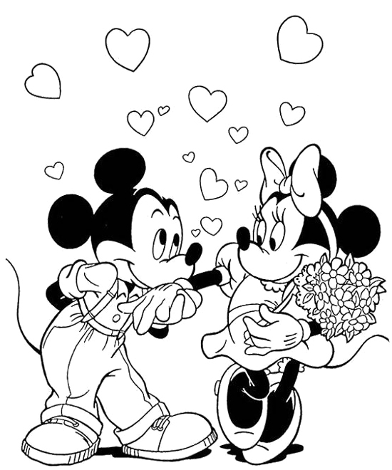 Mickey Mouse and Minnie Mouse Coloring Pictures