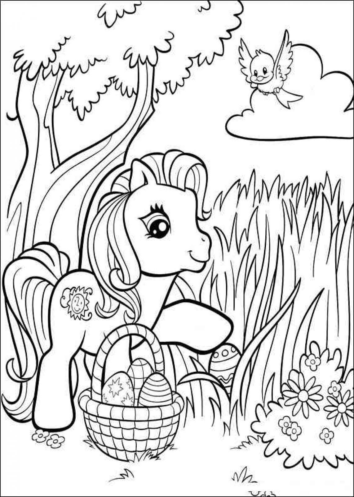It is a picture of Revered Pony Coloring Picture