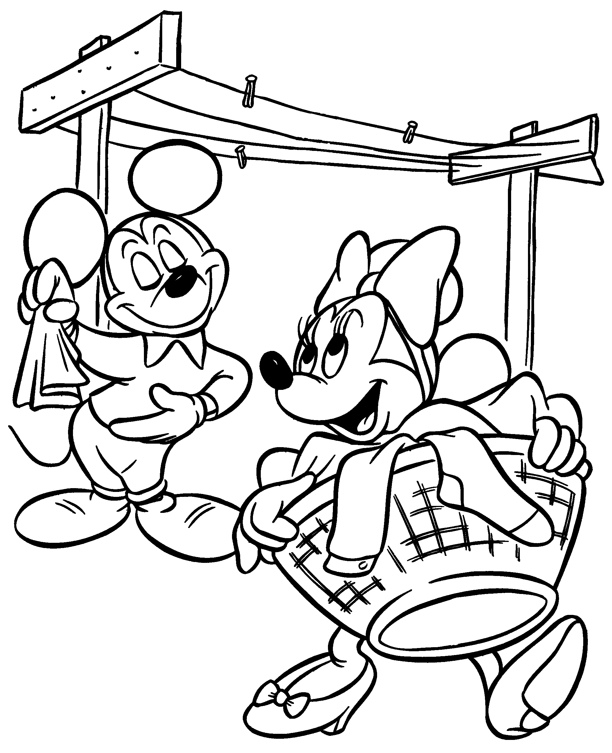 Mickey and Minnie Mouse Coloring Pages Printable