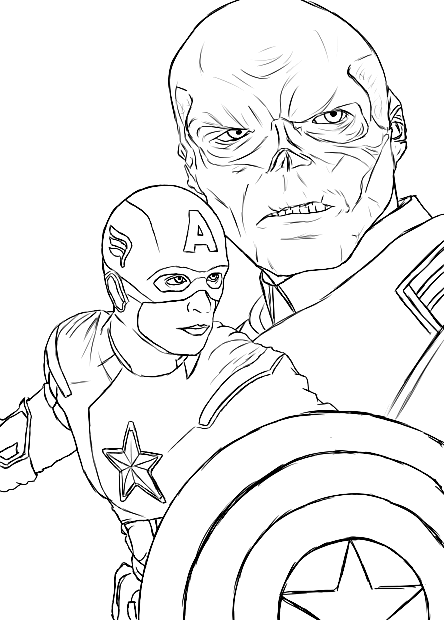 Captain America Face Coloring Page