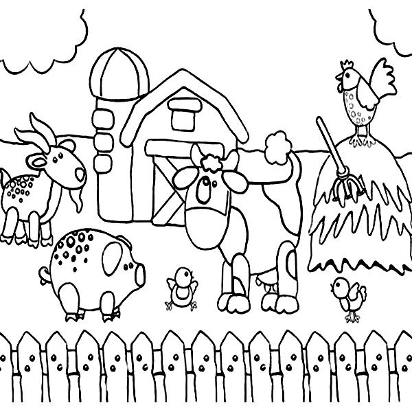 Farm Animal Coloring Page for Toddlers