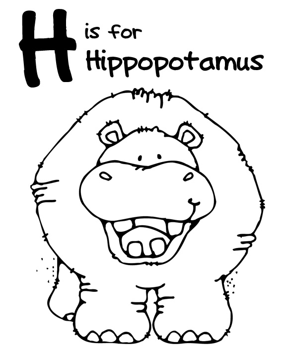 Free Hippo Coloring Page Picture