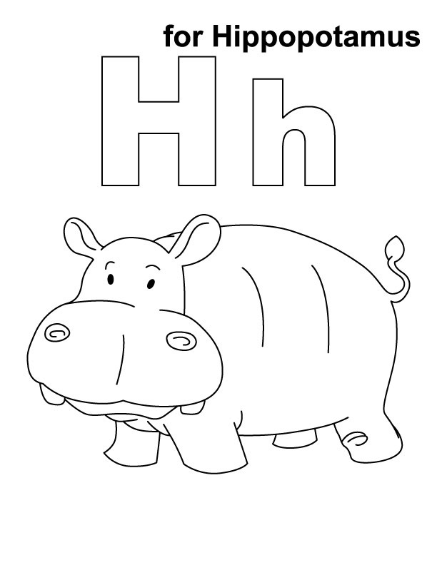 Hippo Printable Coloring Page