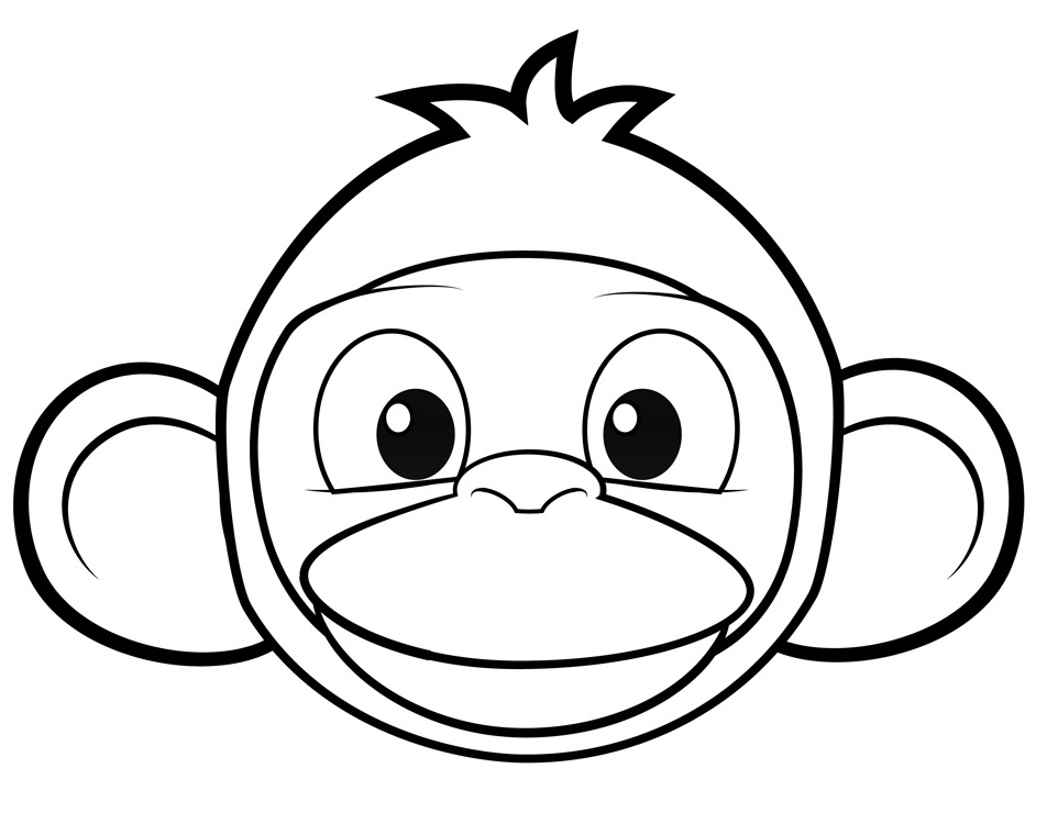 Monkey Head Coloring Pages
