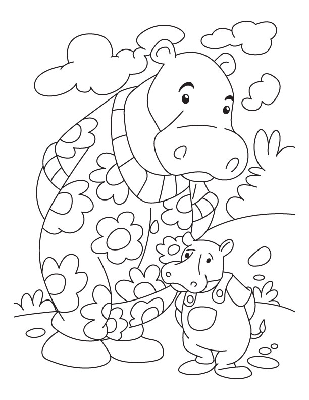 Printable Hippo Coloring Page