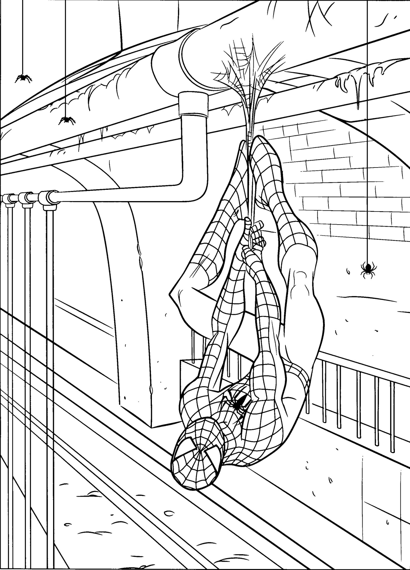 This is a picture of Enterprising Spiderman Coloring Pages Printable
