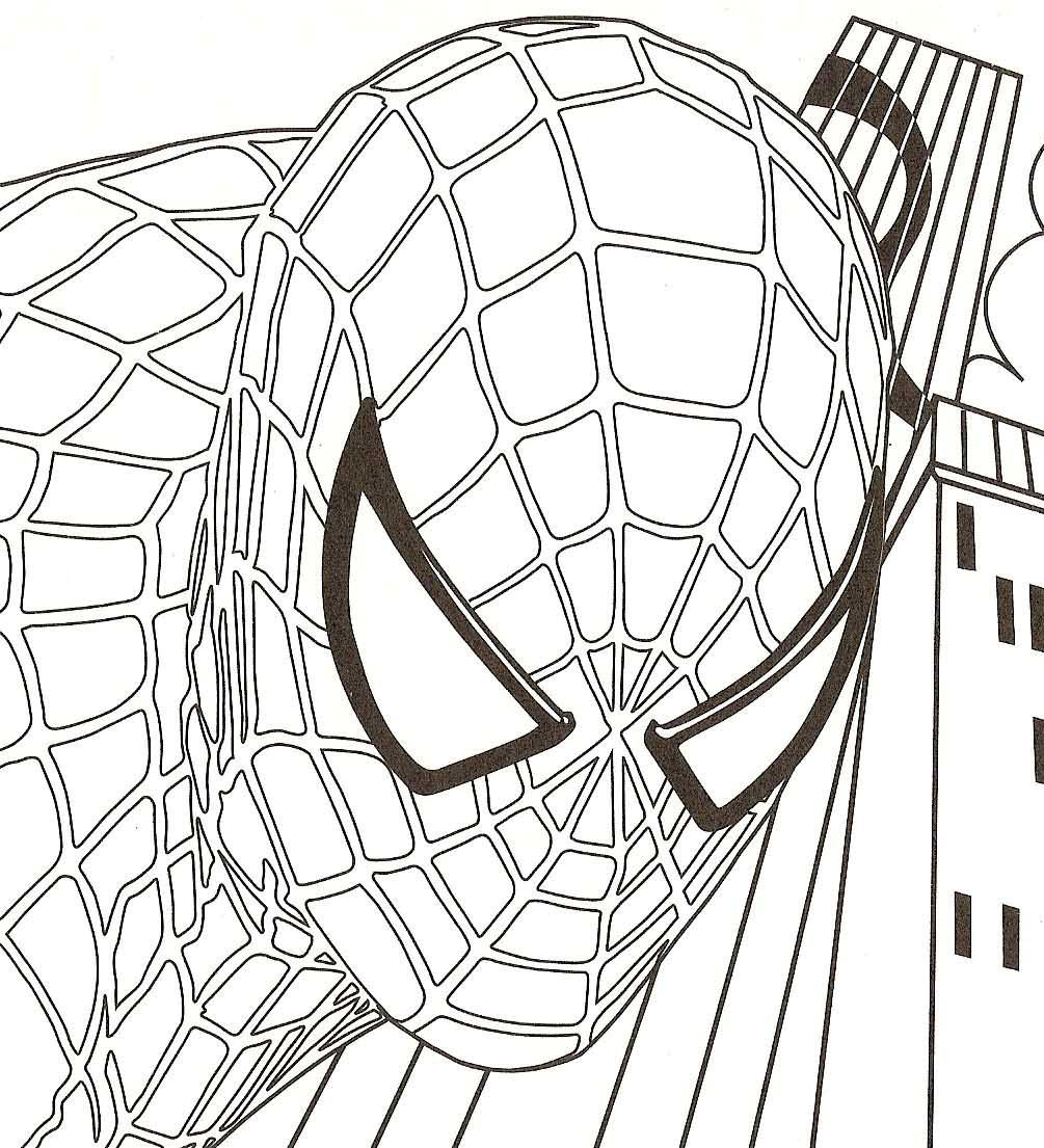 Spiderman Head Coloring Pages