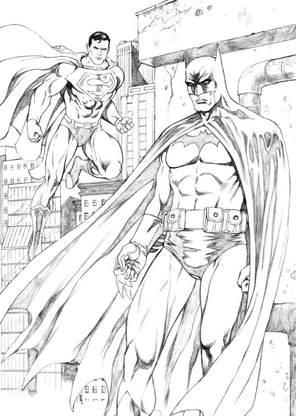 Superman and Batman Coloring Page