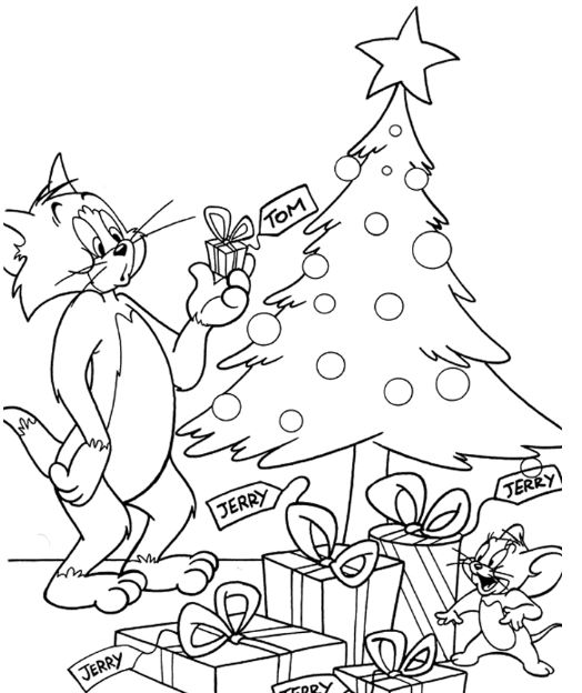 Tom and Jerry Coloring Pages Christmas