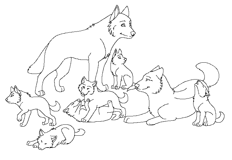 Wolf Puppies Coloring Page