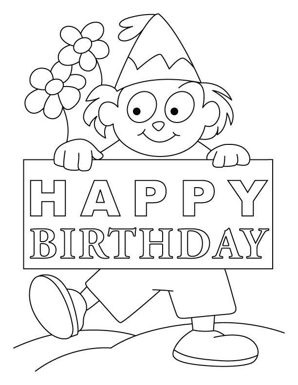 Free Happy Birthday Coloring Page Pages